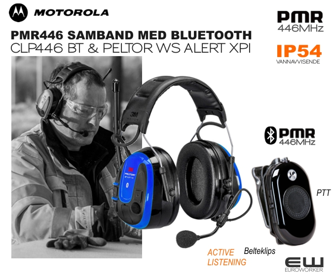 Peltor WS Alert XPI Headset Bluetooth MultiPoint hjelmfeste