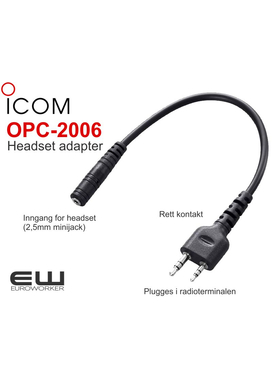 Icom OPC-2006 - Headset adapterkabel type rett