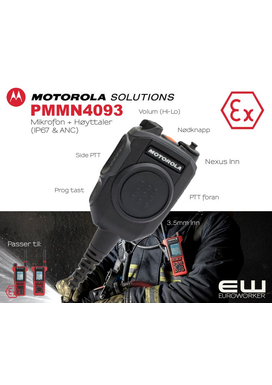 PMMN4093 -  Motorola Atex Remote Speaker Microphone (MTP8500Ex)(TETRA)(PMMN4093) Active Noise Cancelling (ANC)