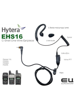 Hytera EHS-16 C-Shell One Wire Headset til PD365, PD355, PD375