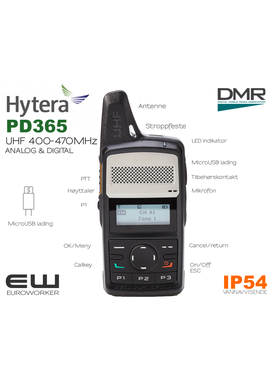 Hytera PD365 UHF DMR (Analog & Digital)(IP54)