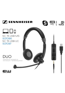 Sennheiser SC 75 3,5mm & USB CTRL & MS Headset (507087 & 507086)