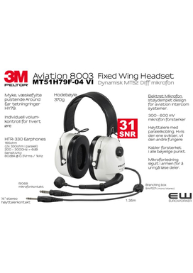 3M Peltor Aviation 8003 - Fixed Wing Headset (Dynamisk) - MT52H79F-04 VI