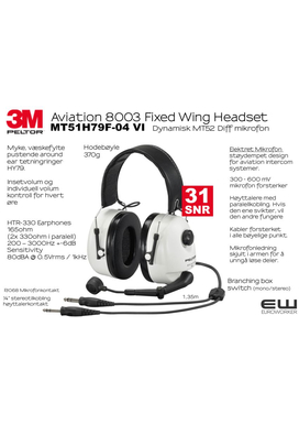 3M Peltor Aviation 8006 - Fixed Wing Headset (Elektret) MT51H79F-01 VI
