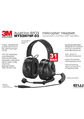3M Peltor Aviation 8103 - Helicopter Headset (Dynamisk mic 5 imp)