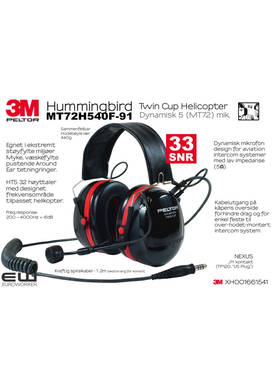 3M Peltor Hummingbird Twin Cup Helicopter Headset (Dynamisk mic 5 imp) MT72H540F-91 7000108098