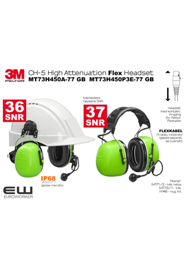 3M Peltor CH-5 High Attenuation Flex Headset - Ground Mechanic MT73H450A-77 GB  MT73H450P3E-77 GB