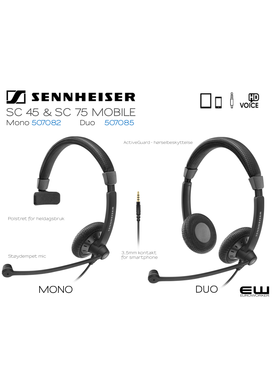Sennheiser SC45 (Mono) & SC75 (Duo) MOBILE Headset (3,5mm)-507082-507085