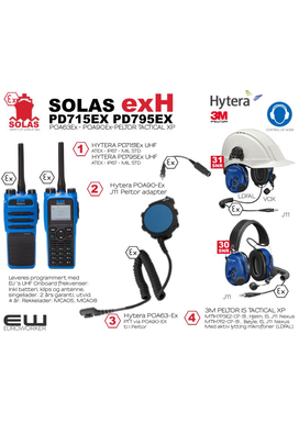 Hytera SOLAS Atex Kampanje - PD715/PD795Ex med POA63Ex - POA90Ex og Peltor IS Tactical XP Headset