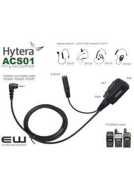 Hytera ACS-01  PTT adapter & MIC med 3,5 mm audioinngang for Listen Only Earpiece (PD365, PD355, PD375)