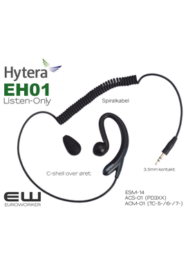 Hytera EH-01 Listen Only Earpiece 3,5mm til ACS-01 (PD365, PD355, PD375 mfl)