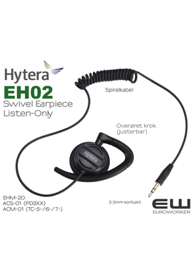 Hytera EH-02 Listen Only Earpiece 3,5mm til ACS-01 (PD365, PD355, PD375 mfl)