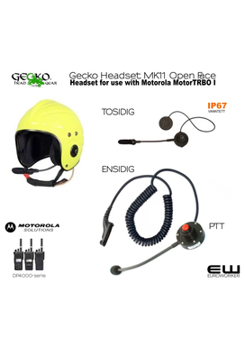 Gecko Headset for MK11 Open Face Helmet (Motorola DP4000)