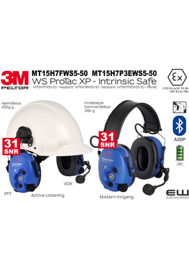 3M Peltor Intrinsic Safe - WS Protac XP Bluetooth Headset MT15H7FWS5-50  MT15H7P3EWS5-50