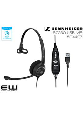 Sennheiser SC-230 USB MS for Skype for Business (504407) og CTRL for UC (504405)