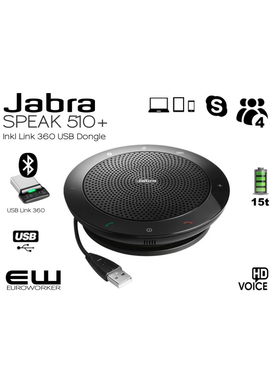 Jabra Speak 510+ Speakerphone (USB & Bluetooth + USB Bluetooth Dongle)